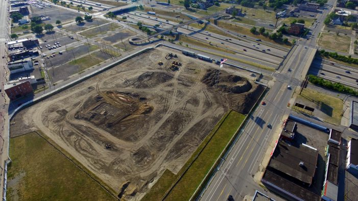 Aerial photos: Historic Tiger Stadium site dug up for artificial turf