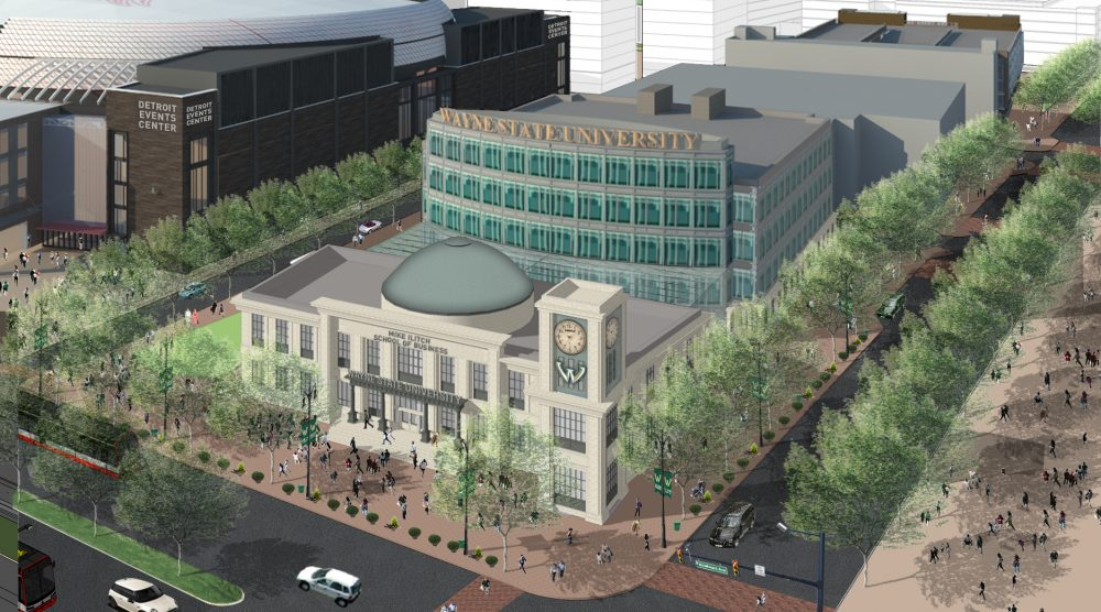 Rendering of the Mike Ilitch School of Business.