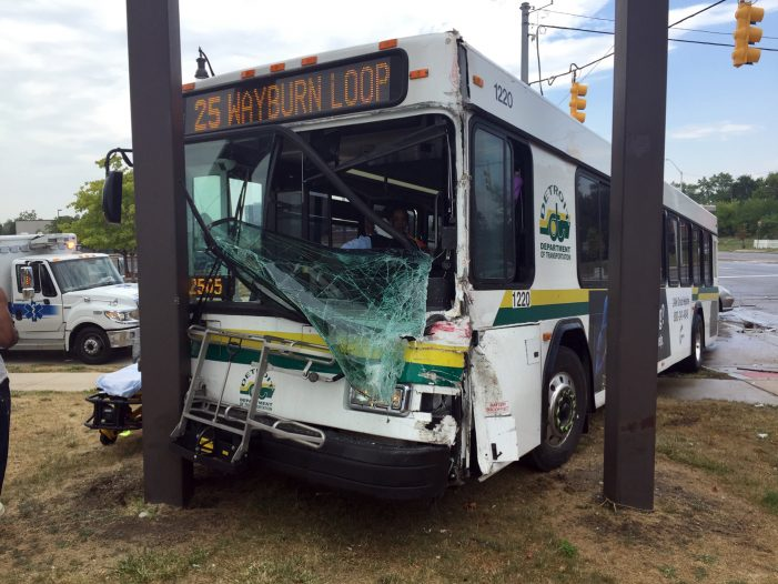 DDOT bus driver injured after striking a garbage truck and billboard