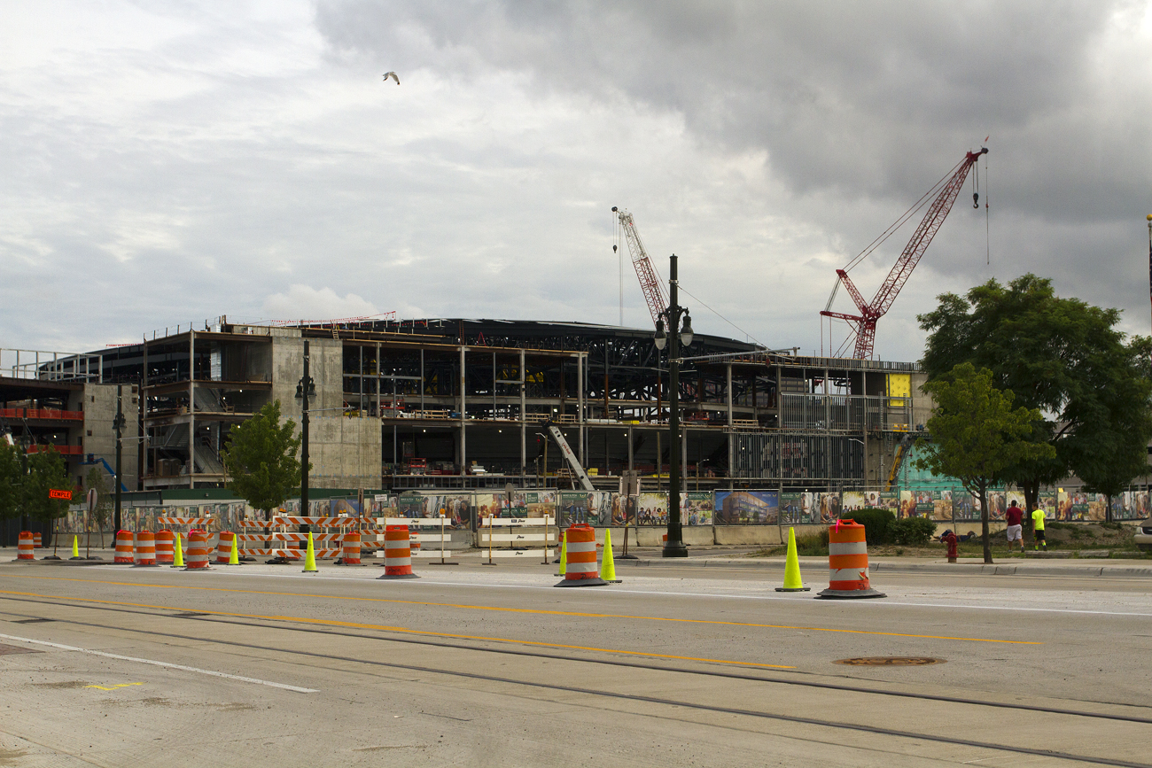 The Mike Ilitch School of Business is being built next to the publicly funded Red Wings arena. Photo by Steve Neavling