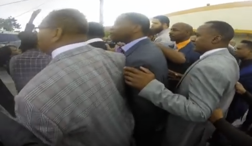 Video: Protesters, journalist assaulted Saturday inside Detroit church where Trump spoke