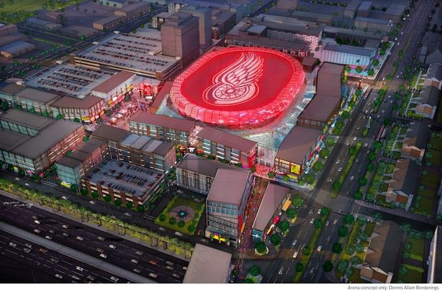 Rendering of the new Red Wings arena.