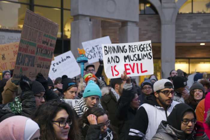 Protesters gathering in downtown Detroit on Tuesday over Trump's travel ban