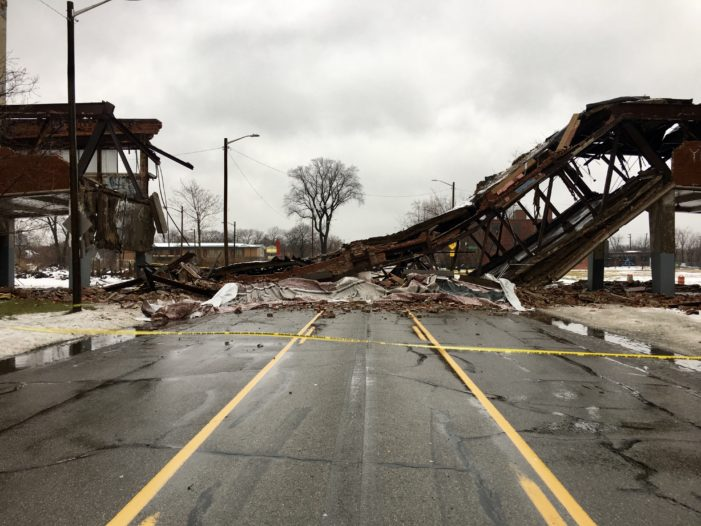 Iconic Packard Plant bridge collapses onto E. Grand Blvd. in Detroit
